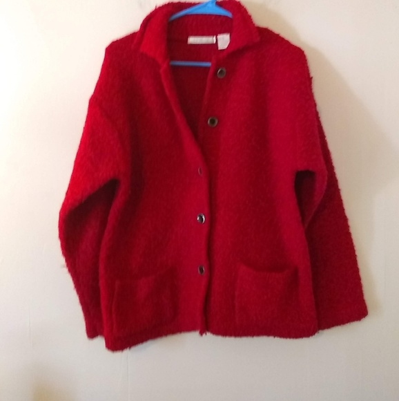 Le Moda Jackets & Blazers - Le Moda Red Wool Blend Button Up Coat